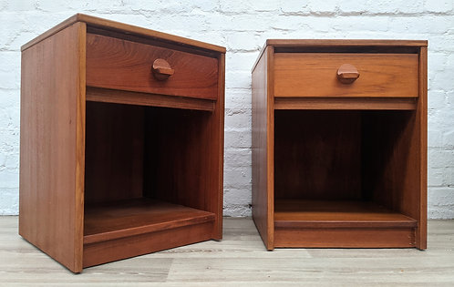 Pair Of Stag Teak Bedside Cabinets