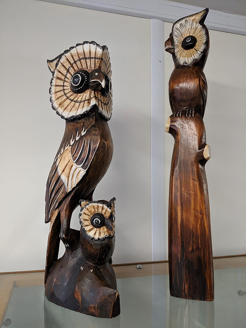 Pair of large carved wooden owls