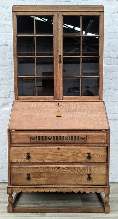 Stripped Oak Writing Bureau With Bookcase