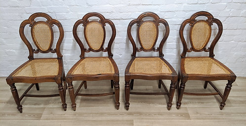 Four Continental Walnut Framed dining chairs