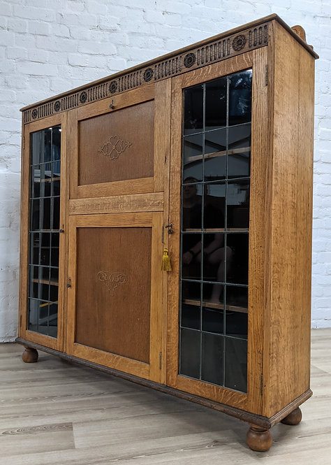 Stripped Oak Bureau/Bookcase