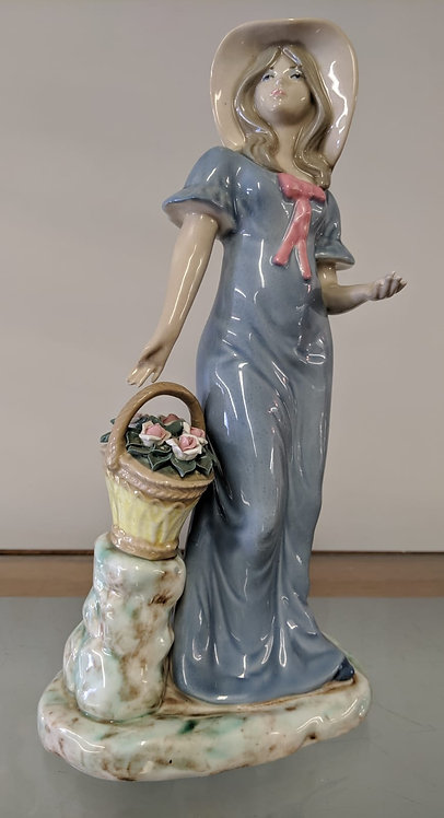 Porcelain figure of young lady with flowers