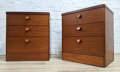 Pair Of Teak Stag Bedside Cabinets