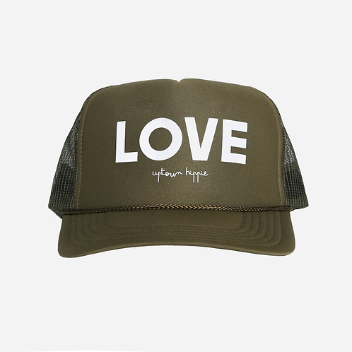 Uptown Hippie - LOVE trucker hat -Olive