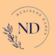 ND business babes navy peach background.