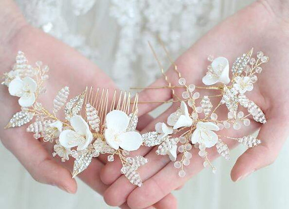 Bridal Hair Combs & Pins Clay Flower Set