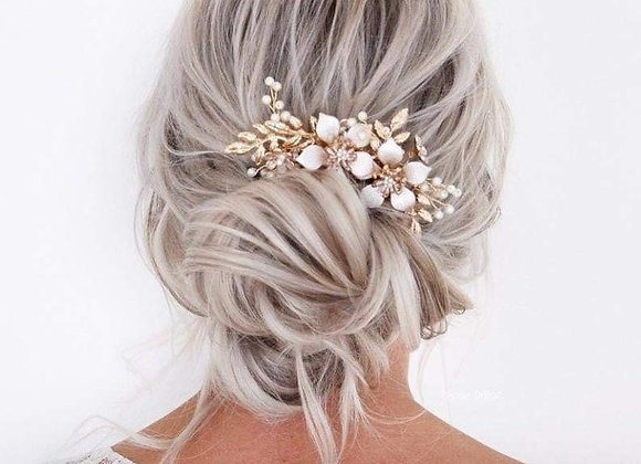 Bridal Pearl Flower Bridal Hair Comb Dahlia
