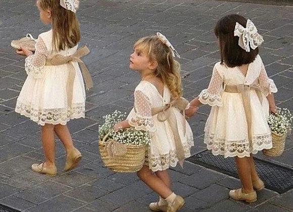 Brides Flower Girls White Dress Lace Long Sleeve Vintage