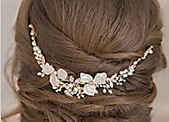 Bridal Hair Comb White Gold Pansy Bridal hair Pieces