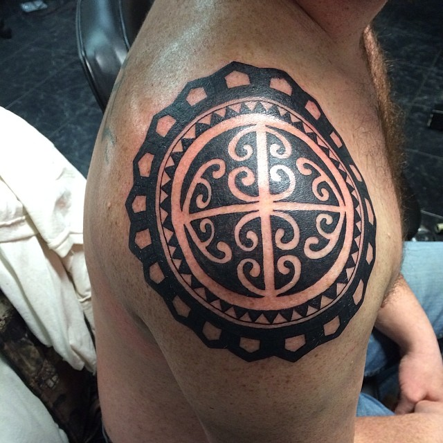 Session 1: #Polynesiantribal #tattoo #tatmaps #tattoos #tattoosbydynamite #tribal #tattoooftheday #m