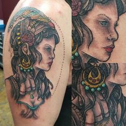 #tattoos #tattoosbydynamite #blackandgreytattoo #splashofcolor #michigantattoooftheday #michigantatt