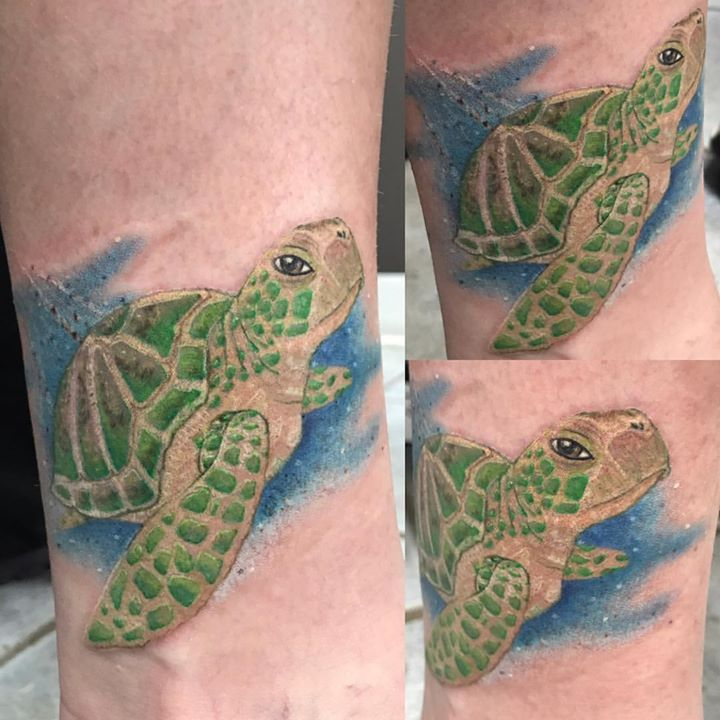 #turtle #realism #dynamicink #steeltattoo #spektraedge #color #colortattoos #seaturtle #eternalink #