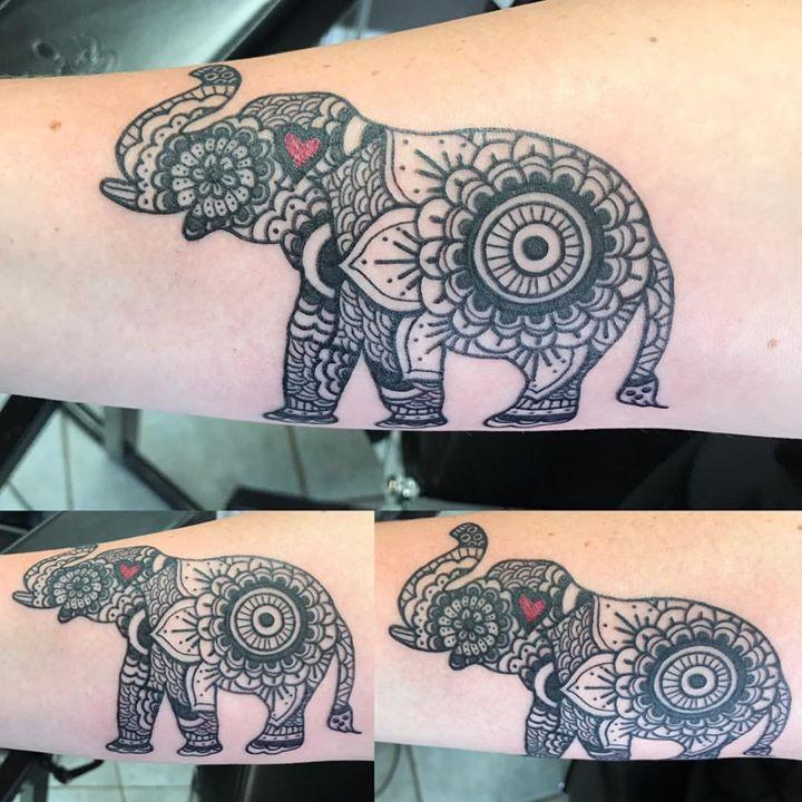 Fun mandala elephant #mandala #elephant #linework #splashofred #steeltattoo #phucstyxtattoosupply #p