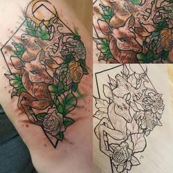 Pretty watercolor deer #deer #deertattoo #watercolor #watercolortattoo #tattoosbydynamite #tattoo #c