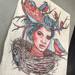 Custom tattoo up for grabs! First come first serve! book an appointment! #tattoos #birds #nest #head