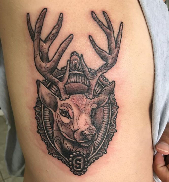 Pretty deer tattoo today #deer #realism #blackandgreytattoo #blackandgrey #spartans #msu _eternalink