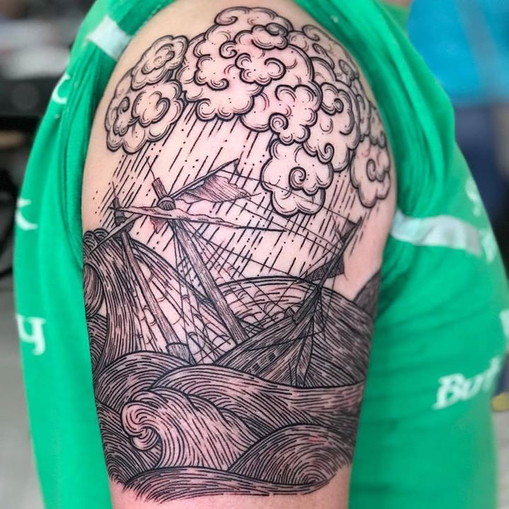 #ship #woodcut #waves #clouds #dynamicink #linework  _phucstyxtattoosupply _phucstyxanthony _michiga
