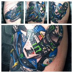 Session 1 #tattoos #tattedup #idotattoos #exhausted #motorcycle #makeanappointment #crotchrocket #ra
