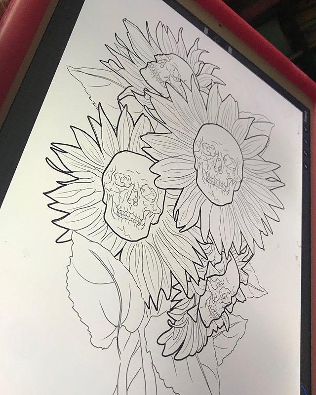 Custom skull sunflowers up for grabs! Me