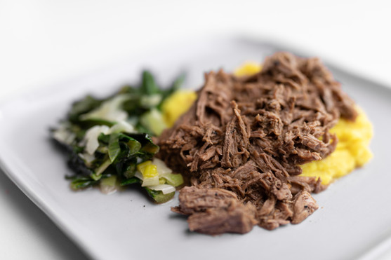 Pulled Beef and Turmeric Cauliflower with Dandelion Greens