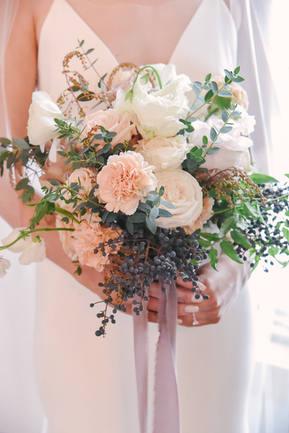 Mauve Silk Ribbon Bridal Bouquet
