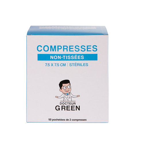 Dr Green – 100 Compresses stériles non-tissées 7.5 x 7.5 cm