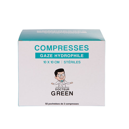 Dr Green – 100 Compresses gaze hydrophile 10x10 cm