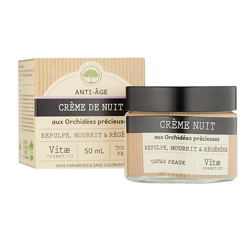 Vitae Cosmetics – Crème de NUIT anti-âge aux Orchidées précieuses – 50mL