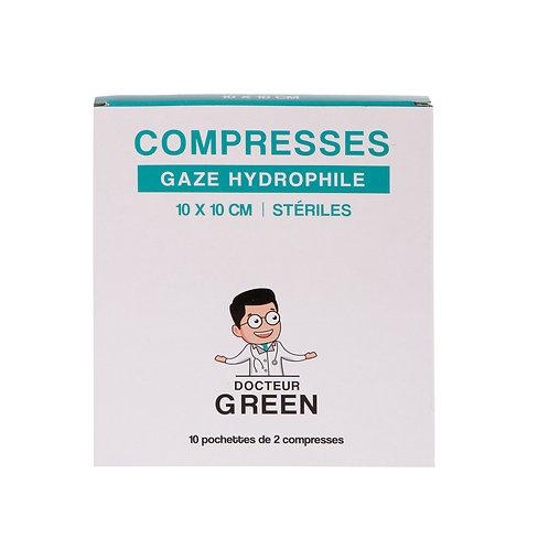 Dr Green – 20 Compresses gaze hydrophile 10x10 cm