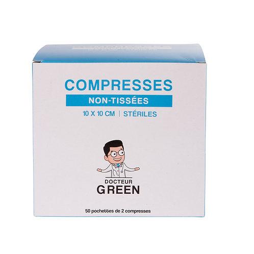 Dr Green – 100 Compresses stériles non-tissées 10x10 cm