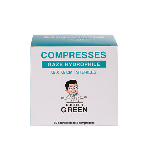 Dr Green – 100 Compresses gaze hydrophile 7.5 x 7.5 cm