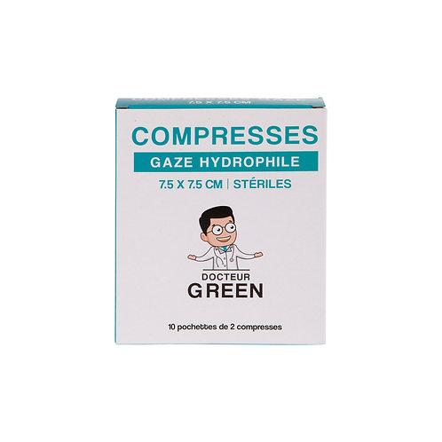 Dr Green – 20 Compresses gaze hydrophile 7.5 x 7.5 cm