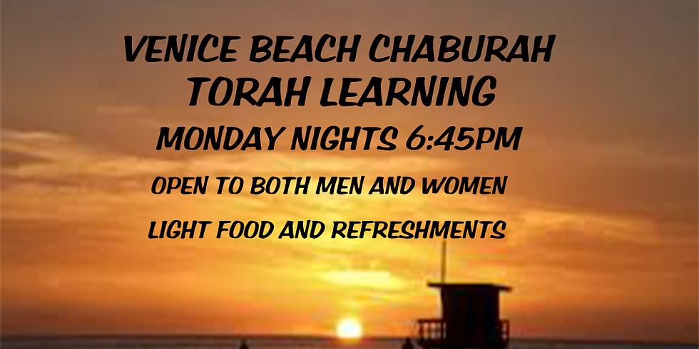 Monday Night Torah Learning for Men & Women- Venice Beach Chaburah (group)