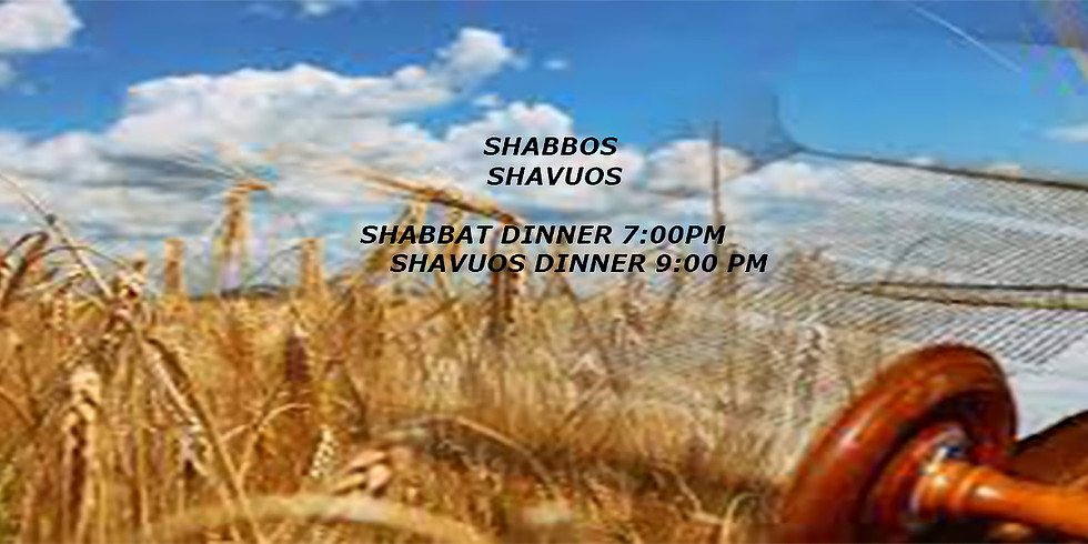 Shabbat & Shavuos Dinner Fri. May 14th 7:00PM & Sat. May 16th 9:00 PM followed by Learning