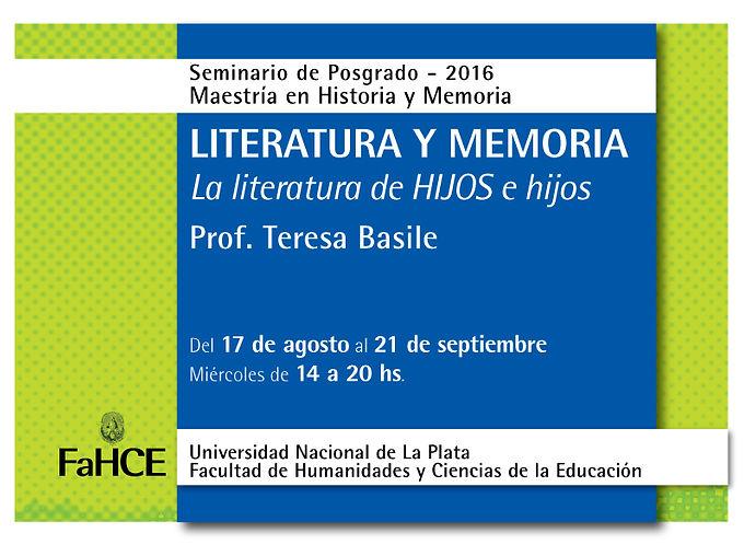 Seminario de postgrado: Literatura y memoria: la literatura de HIJOS e hijos