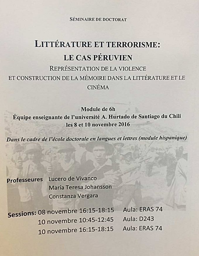 Seminario de doctorado: Littérature et Terrorisme, le cas péruvien. Représentation de la violence et construction de la mémoire dans la littérature et le cinéma