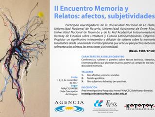 II Encuentro: Memoria y Relatos: afectos, subjetividades