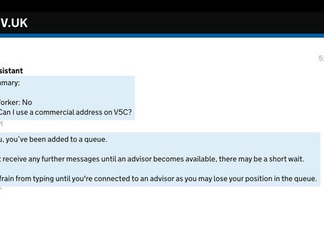 商業地址作為車輛 V5C 登記地址?????????