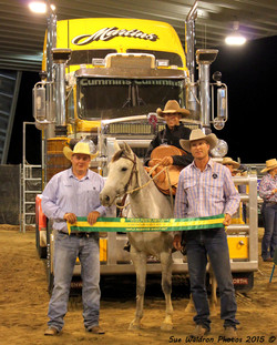 Jim Ryan, Karl Burton on Sweet Dash to Destiny winner of the Shoot Out and the judge Stephen Sheppar