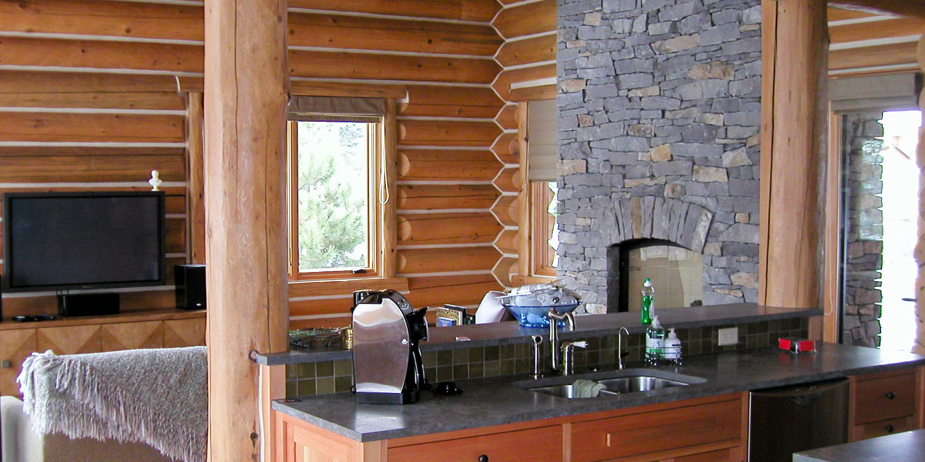 Log Home Kitchen Family Room Fireplace.J