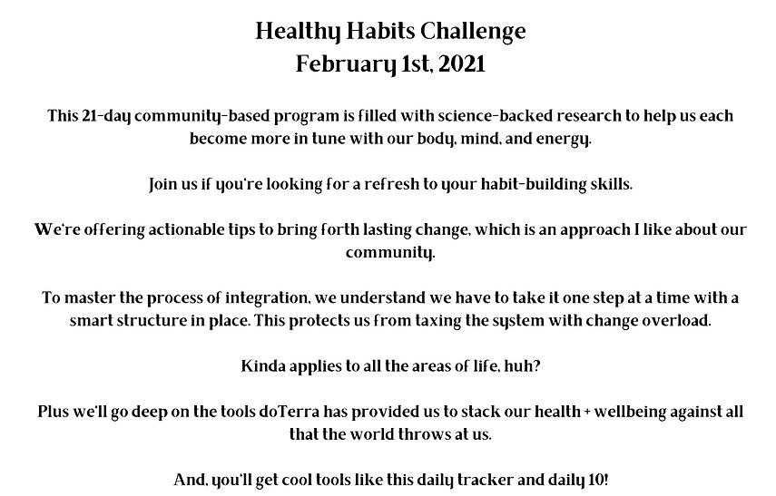 Healthy Habits Challenge February 1 2021
