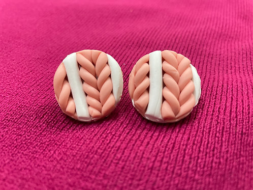 White and Beige braided studs