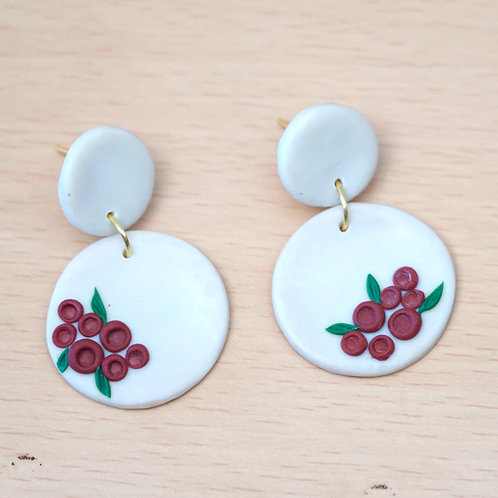 White Danglers with red embroidery