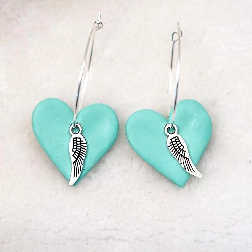 Neon Blue Heart Hoops