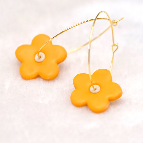 Yellow flower Hoops