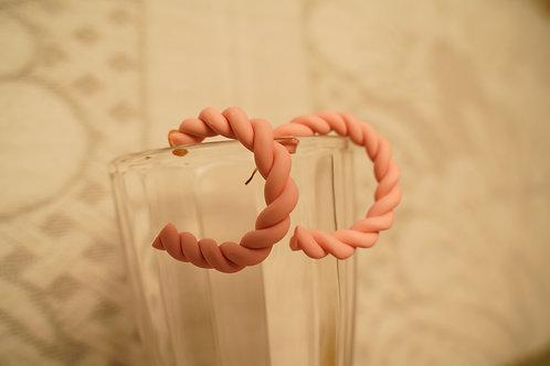 Beige braided Hoops