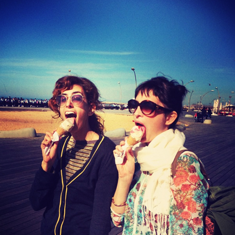 Two women who are trying to lose weight eating ice cream