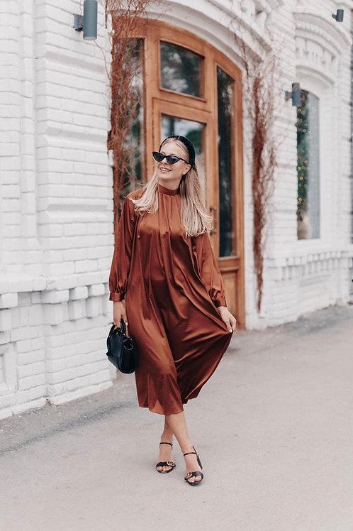Шёлковое платье цвета бельгийского шоколада