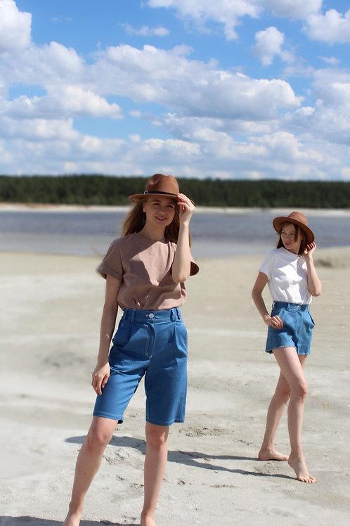 Удлинённые шорты из джинсы