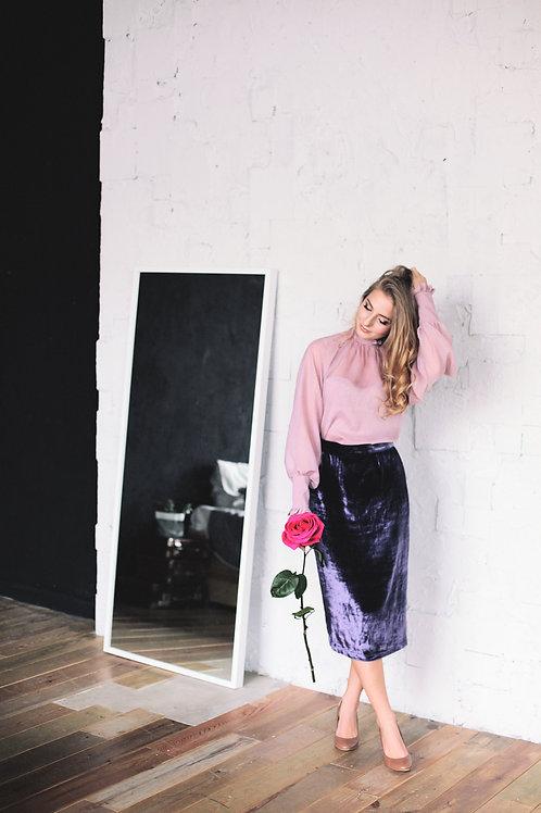 Блуза розовая в мелкую мушку